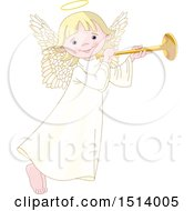 Clipart Of A Cute Female Angel Holding A Horn Royalty Free Vector Illustration