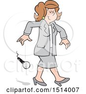 Clipart Of A Cartoon White Business Woman Dropping The Mic Royalty Free Vector Illustration