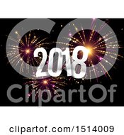 Clipart Of A Silver New Year 2018 Over New Year Fireworks Royalty Free Vector Illustration by beboy