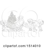 Clipart Of A Lineart Group Of Children Receiving Christmas Gifts From Santa By A Tree Royalty Free Vector Illustration