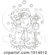 Lineart Christmas Santa With A Pole And Sack In The Snow