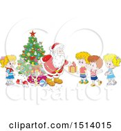 Clipart Of A Group Of Children Receiving Christmas Gifts From Santa By A Tree Royalty Free Vector Illustration