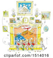 Clipart Of A Hearth With Santas Feet Emerging From The Chimney Royalty Free Vector Illustration