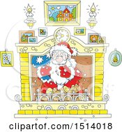 Clipart Of A Christmas Santa Claus Holding A Sack In A Fireplace Royalty Free Vector Illustration by Alex Bannykh