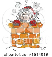 Clipart Of A Sooty Santa In A Chimney Royalty Free Vector Illustration by Alex Bannykh