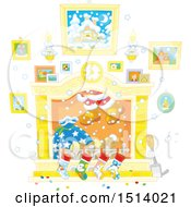 Clipart Of A Fireplace With Santas Feet Emerging From The Chimney Royalty Free Vector Illustration