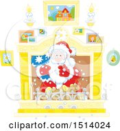 Clipart Of A Christmas Santa Holding A Sack In A Fireplace Royalty Free Vector Illustration