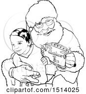 Lineart Happy Boy Sitting On Santas Lap With A Christmas Time Sign