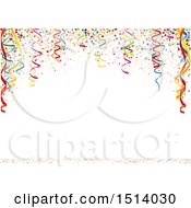 Clipart Of A Party Background With Colorful Ribbons And Confetti On White Royalty Free Vector Illustration by dero