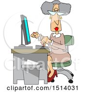 Cartoon Senior White Female Secretary At Her Desk