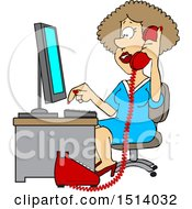 Clipart Of A Cartoon White Female Secretary Taking A Phone Call Royalty Free Vector Illustration