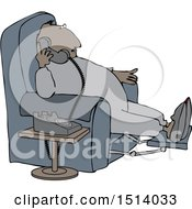 Clipart Of A Cartoon Chubby Black Man In Pajamas Sitting In A Chair And Talking On The Phone Royalty Free Vector Illustration