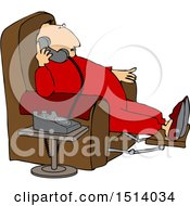 Clipart Of A Cartoon Chubby White Man In Pajamas Sitting In A Chair And Talking On The Phone Royalty Free Vector Illustration