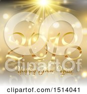 Clipart Of A 2018 Happy New Year Design Over Gold Royalty Free Vector Illustration