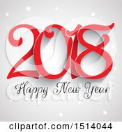 Clipart Of A 2018 Happy New Year Design With Stars On Gray Royalty Free Vector Illustration