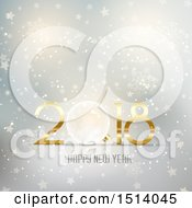 Clipart Of A 2018 Happy New Year Design With A Bauble Over Stars And Snowflakes Royalty Free Vector Illustration