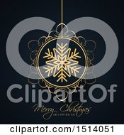 Clipart Of A Merry Christmas And A Happy New Year Greeting With A Snowflake Bauble Royalty Free Vector Illustration