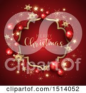 Clipart Of A Merry Christmas And A Happy New Year Greeting In A Frame With Baubles Stars And Snowflakes On Red Royalty Free Vector Illustration