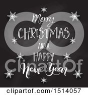 Clipart Of A Merry Christmas And A Happy New Year Greeting On A Blackboard With Snowflakes Royalty Free Vector Illustration