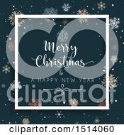 Clipart Of A Merry Christmas And A Happy New Year Greeting With Colorful Snowflakes Royalty Free Vector Illustration