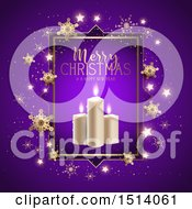 Clipart Of A Merry Christmas And A Happy New Year Greeting With Candles Stars And Snowflakes On Purple Royalty Free Vector Illustration