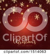 Clipart Of A Merry Christmas And A Happy New Year Greeting With Snowflakes And Flares On Red Royalty Free Vector Illustration