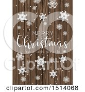 Clipart Of A Merry Christmas And A Happy New Year Greeting With Snowflakes On Wood Royalty Free Vector Illustration