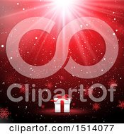 Clipart Of A Christmas Gift With Rays And Snowflakes On Red Royalty Free Vector Illustration