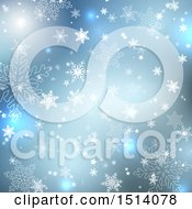 Blue Winter Or Christmas Background With Snowflakes