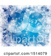 Blue Snowflake And Flare Background