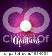 Clipart Of A Merry Christmas Greeting With A Bauble Over A Mandala Royalty Free Vector Illustration