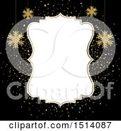Clipart Of A Winter Or Christmas Border With Gold Snowflakes On Black Royalty Free Vector Illustration