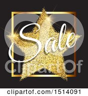 Clipart Of A Gold Glitter Star With Sale Text On Black Royalty Free Vector Illustration by KJ Pargeter