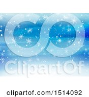 Blue Watercolor Background With Snowflakes