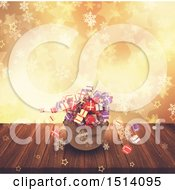 Clipart Of A 3d Santa Sack With Christmas Gifts Over Bokeh Stars And Snowflakes Royalty Free Illustration