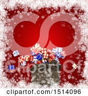 Clipart Of A 3d Santa Sack With Christmas Gifts Over Red With Snowflakes Royalty Free Illustration