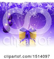 Clipart Of A 3d Purple Background With Suspended Christmas Baubles A Gift And Snowflakes Royalty Free Vector Illustration