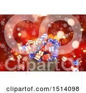 Clipart Of A 3d Santa Sack With Christmas Gifts Over Red Bokeh And Snowflakes Royalty Free Illustration