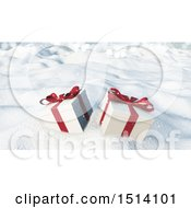 Clipart Of 3d Christmas Gifts In The Snow Royalty Free Illustration