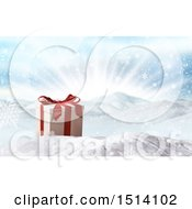 Clipart Of A 3d Christmas Gift In The Snow Royalty Free Illustration