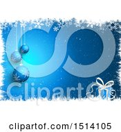 Clipart Of A Blue Christmas Background With 3d Baubles And A Gift In A Border Of Snowflakes Royalty Free Vector Illustration