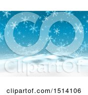 3d Hilly Snowy Winter Landscape With Snowflakes