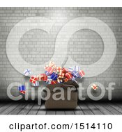 Clipart Of A 3d Santa Sack With Christmas Gifts In An Industrial Room Royalty Free Illustration