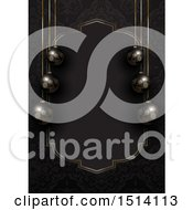 Clipart Of A 3d Christmas Border Of Black Baubles And A Gold Frame Royalty Free Vector Illustration
