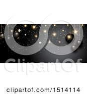 Clipart Of A Christmas Border With 3d Baubles And Gold Stars On Black Royalty Free Vector Illustration