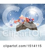 Clipart Of A 3d Santa Sack With Christmas Gifts In The Snow Royalty Free Illustration
