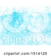 Blue Watercolor Winter Christmas Background Of Snowflakes