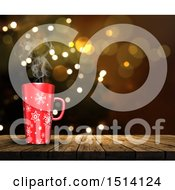 Clipart Of A 3d Snowflake Coffee Mug On A Wood Surface Over Flares Royalty Free Illustration by KJ Pargeter