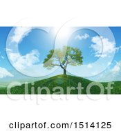 Clipart Of A 3d Tree On A Grassy Hill In The Spring Royalty Free Illustration