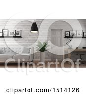 Clipart Of A 3d Home Office And Living Room Interior Royalty Free Illustration by KJ Pargeter